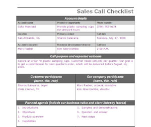 Sales Call Checklist - Sales Coaching